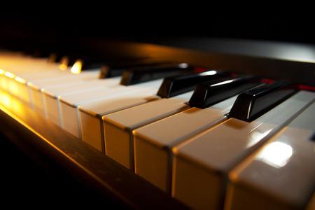 piano closeup: Piano keyboard (piano  digital piano, closeup view) Stock Photo