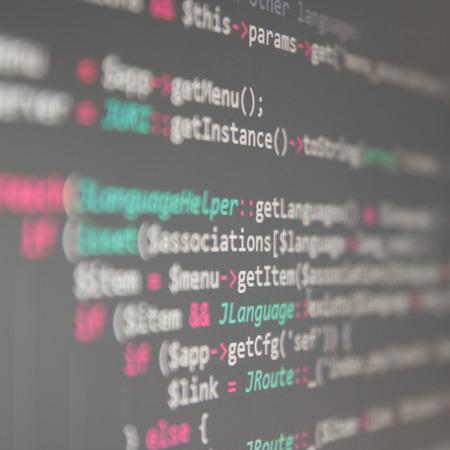 computer program: Program code - selective focus Stock Photo