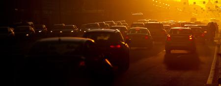 no rush: Urban traffic jam at the evening, sunlight Stock Photo
