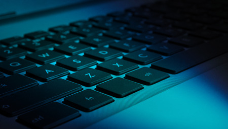colorized: Closeup view of computer (notebook) keyboard, colorized Stock Photo