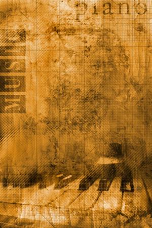 klavier: Grunge Hintergrund mit Einzelheiten der Klaviertastatur und Worte