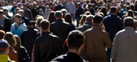 Crowd of people at the street, city center