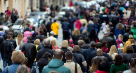 Menigte van mensen op de straat, het centrum