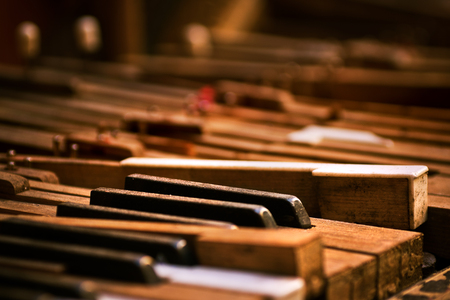 piano closeup: Keyboard of old broken piano (close-up view) Stock Photo