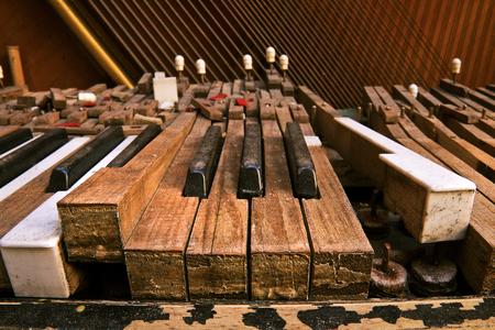 closeup view: Keyboard of old broken piano (close-up view) Stock Photo
