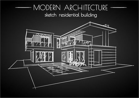 modern architecture sketch residential building