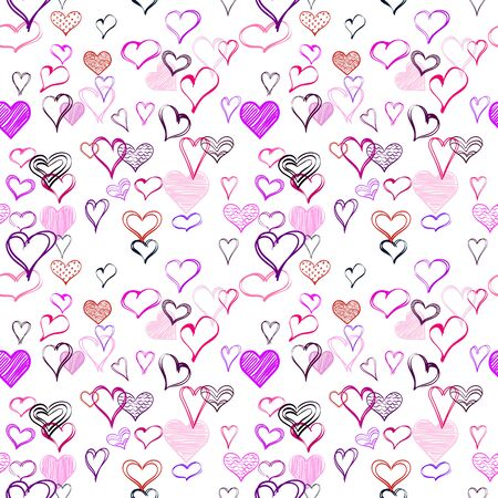 Hearts background. Seamless vector pattern. Chaotic purple hearts
