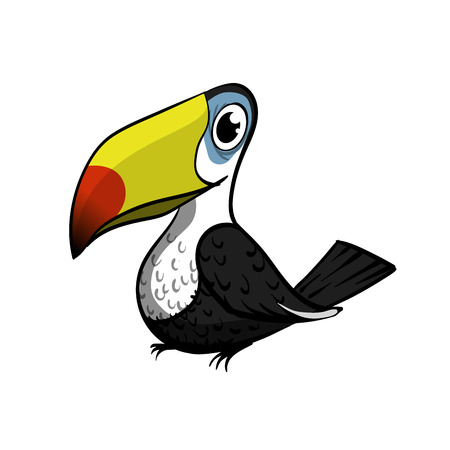 Toucan bird cartoon character. Cute toucan flat vector isolated on white. South America fauna. Wild animal illustration for zoo ad, nature concept, children book illustrating