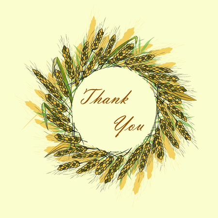 Vector illustration of a wreath made of wheat spikelets isolated on on light background with space for text. Template, seal, design element. Hand drawn. Spikelets of golden wheat, rye, barley. 向量圖像