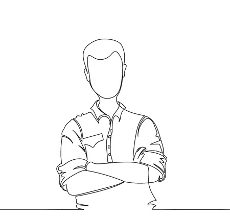 Confident young handsome man in jeans shirt keeping arms crossed and smiling while standing against white background. one line. drawing