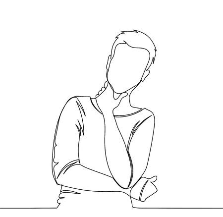 Der Mensch denkt nach. Denkender Mann der Vektorillustration - kontinuierliche Strichzeichnung