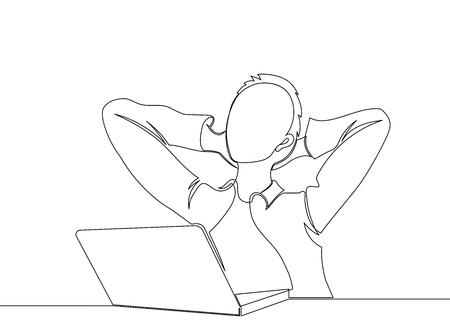 Satisfecho con el trabajo realizado. Feliz joven trabajando en la computadora portátil mientras está sentado en su lugar de trabajo en la oficina. una línea. dibujo Ilustración de vector