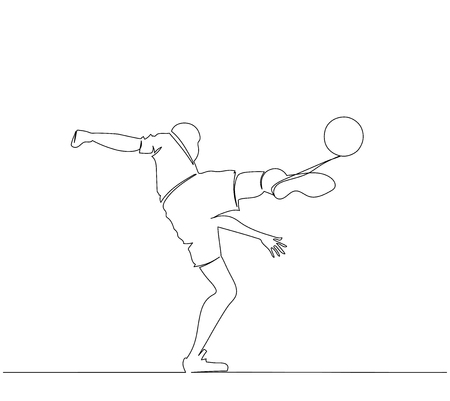 one soccer player man isolated on white background. football. One line. Drawing  イラスト・ベクター素材