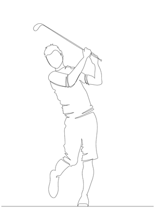 Silhouette golfer swinging driver wood for golf tournament ticket and flyer background. One line. Drawing