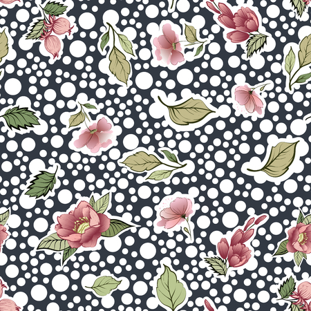 Beautiful vintage Floral pattern in many kinds of colors. Botanical motifs are scattered randomly. Seamless vector texture.fashion prints. Print with hand-drawn bubbles style