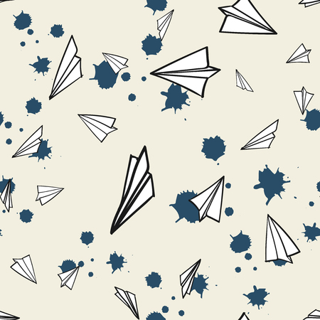 Abstract  pattern seamless. Memphis style. paper airplane