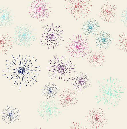 Vector illustration of fireworks display seamless background