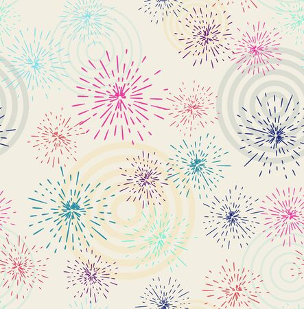 Vector seamless pattern with different colorful fireworks