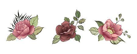Flower Design elements. Elegant card. Spring decorative bouquet of flowers. A small flower garland. Vector illustration Ilustracja