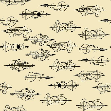 Abstract geometric seamless pattern. arrows are randomly scattered on the background.