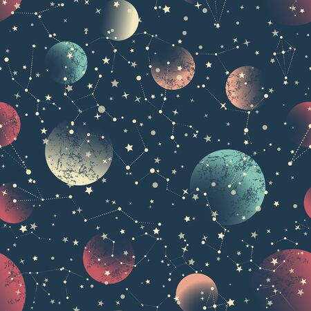 Abstract geometric seamless pattern. Multi-colored curly arrows are randomly scattered on the background. Space, stars, constellations, astrology.