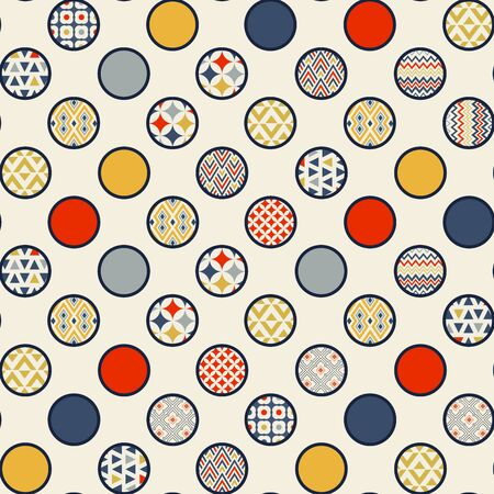 Abstract geometric seamless pattern. Multi-colored circles are randomly scattered