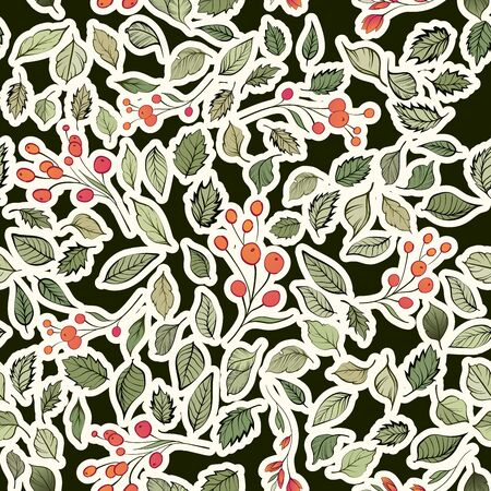 Seamless pattern. Natural motives. Green leaves red berries randomly scattered on a light background Standard-Bild - 129489754