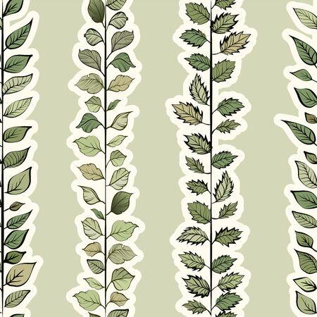 Seamless pattern. Natural motives. Green leaves randomly scattered on a light background Ilustracja