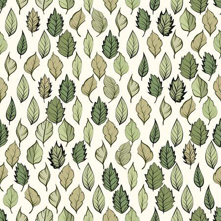 Seamless pattern. Natural motives. Green leaves on light background Standard-Bild - 129489766