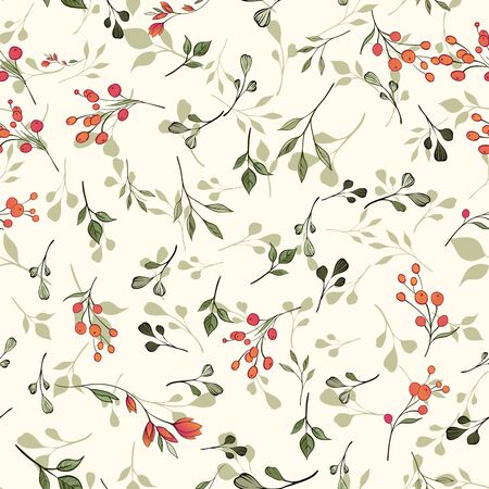 Seamless pattern. Natural motives. Green leaves red berries randomly scattered on a light background Ilustracja