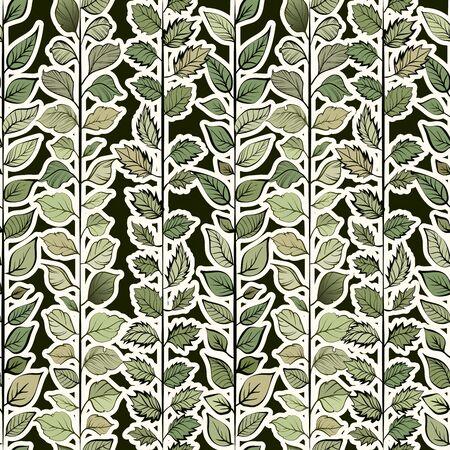 Seamless pattern. Natural motives. Green leaves on light background Ilustracja
