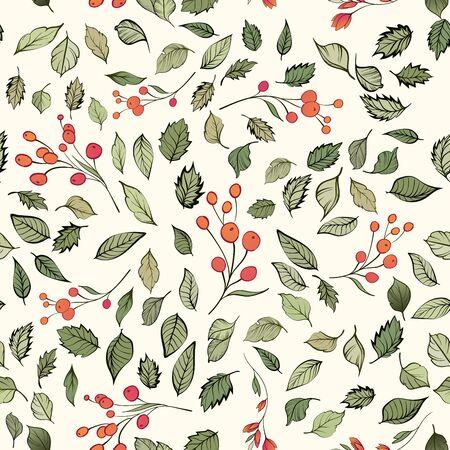 Seamless pattern. Natural motives. Green leaves red berries randomly scattered on a light background Standard-Bild - 129489819