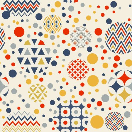 Abstract geometric seamless pattern. Multi-colored circles are randomly scattered Archivio Fotografico - 129489841
