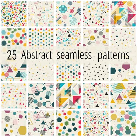 Set of seamless patterns. Blue red yellow blue painted seamless pattern set. Vector Wallpaper or print fabric Stock Illustratie