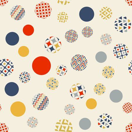 Abstract geometric seamless pattern. Multi-colored circles are randomly scattered Archivio Fotografico - 129489854