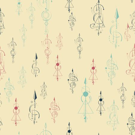Abstract geometric seamless pattern. Multi-colored curly arrows are randomly scattered on the background.