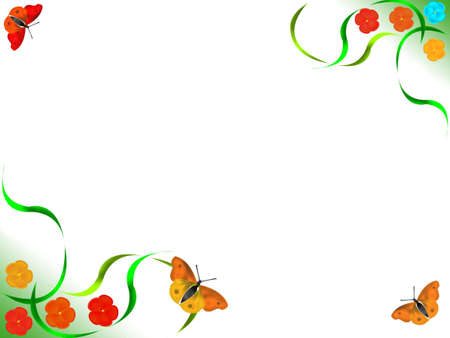 Framework for a photo - red flowers, butterfly, grass on a white background Stock Photo