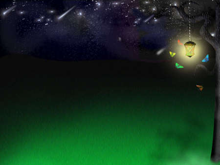 glade: Background for a working table - elf glade under stars Stock Photo