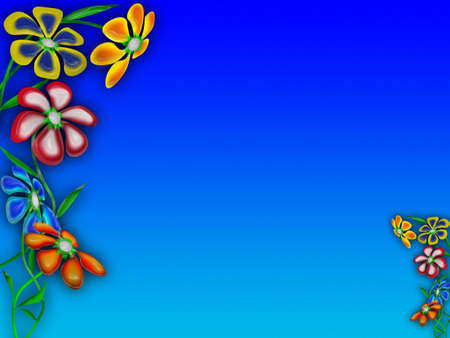 Multi-coloured summer flowers and background of the sky  photo