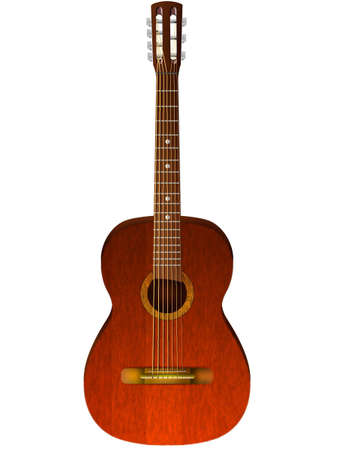 Realistic wooden guitar on a white background