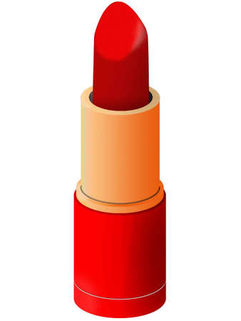 lipstick tube: Lip lipstick in a tube of red colour on a white background