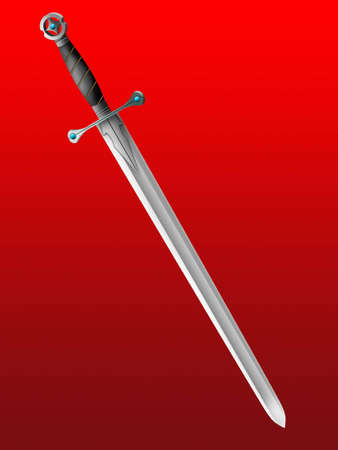 Old knightly sword on a red background