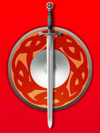 Old knightly sword and board on a red background Stock Photo - 852998