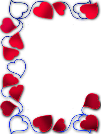 Frame for a photo as red hearts photo