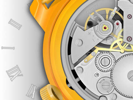 Background the mechanism of hours in the gold case with a dial