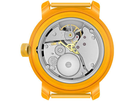 breakage: The mechanism of hours in the gold case on a white background
