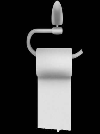 toilet roll: Roll of a toilet paper hanging on a wall Stock Photo