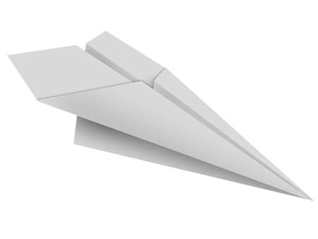 The paper toy plane on a white background