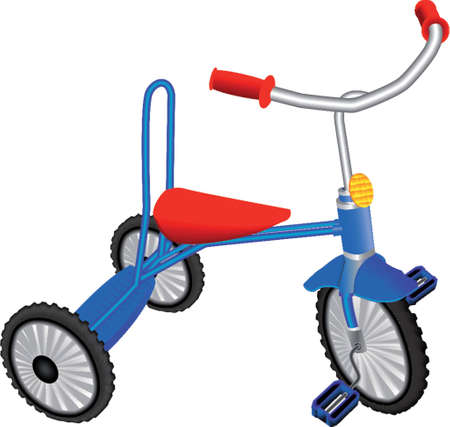 Dark blue childrens tricycle on a white background