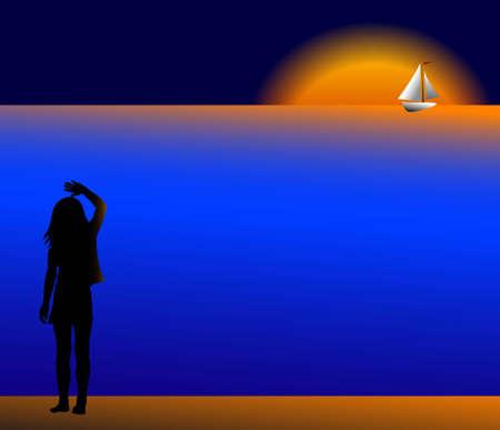 seacoast: The girl meets a coming back ship on seacoast